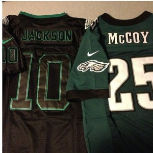 Knock off black fashion jersey and green Lesean McCoy jersey (look at the bird on the sleeve terrible fake!)