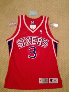 philadelphia 76ers allen iverson authentic champion rookie jersey