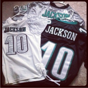 Look at the name on the black jersey, FAKE! Silver jersey? Don't think the Eagles wear that and a fake woman's jersey too