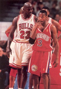 allen iverson rookie year with michael jordan