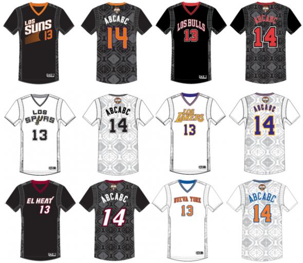2013-2014 NBA Noche Latina Latin Nights sleeved NBA basketball jerseys, heat, lakers, suns, bulls, spurs, knicks