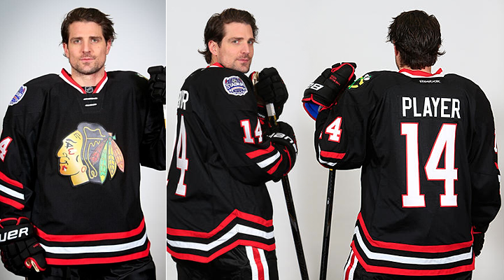 Chicago Blackhawks black chrome stadium series jerseys