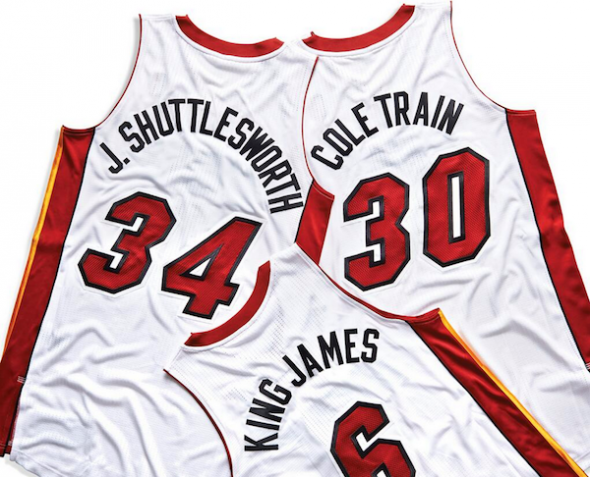 Miami Heat Nickname NBA Jerseys king james j. shuttlesworth cole train