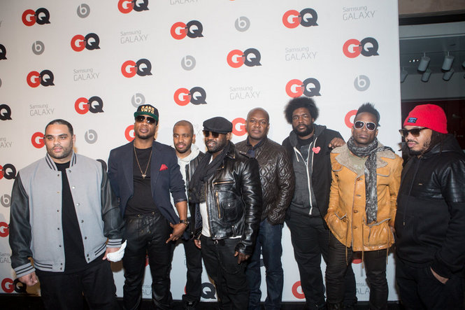 The Roots at GQ NBA All Star Weekend 2014 Party Frank Knuckles in Rare Vintage Wear  Starter snapback