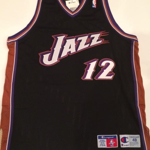 sneakers for cheap 392ff 14793 1998-99 Authentic John Stockton Utah Jazz Champion Black Alternate NBA  Jersey Size 48
