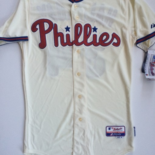 vintage philadelphia phillies roy halladay cream colored alternate mlb jersey size 40