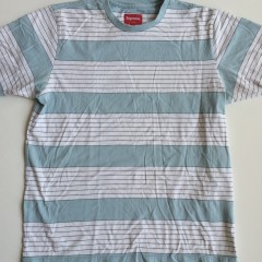 supreme cut and sew blue white striped t shirt xl