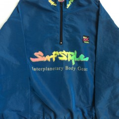 vintage blue iridescent surf style windbreaker jacket