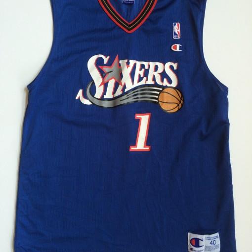 vintage philadlephia sixers champion nba jersey size 40