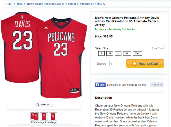 New Orleans Pelicans Anthony Davis Red alternate jersey
