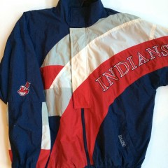 vintage cleveland indians delong mlb windbreaker jacket size xl