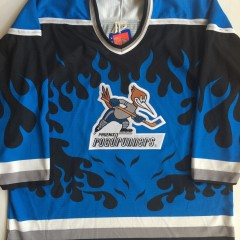 vintage phoenix roadrunners ihl blue flame alternate hockey jersey
