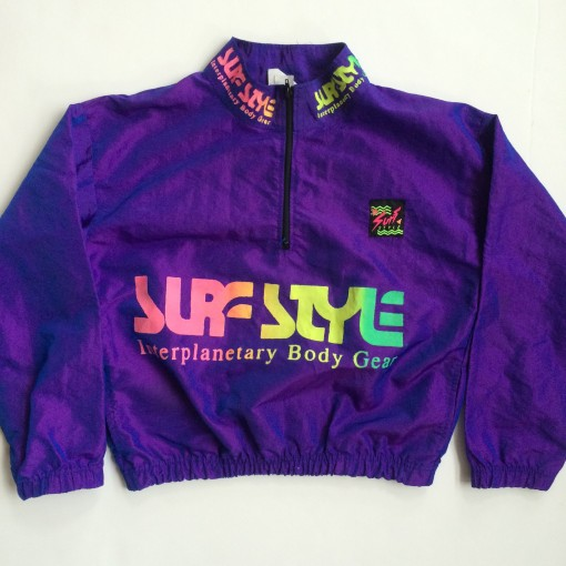 vintage surf style windbreaker jacket purple youth