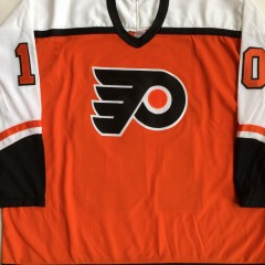 vintage philadelphia flyers john leclair orange ccm vintage jersey xxl