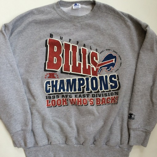vintage 1995 buffalo bills afc east division champions starter crew neck sweatshirt