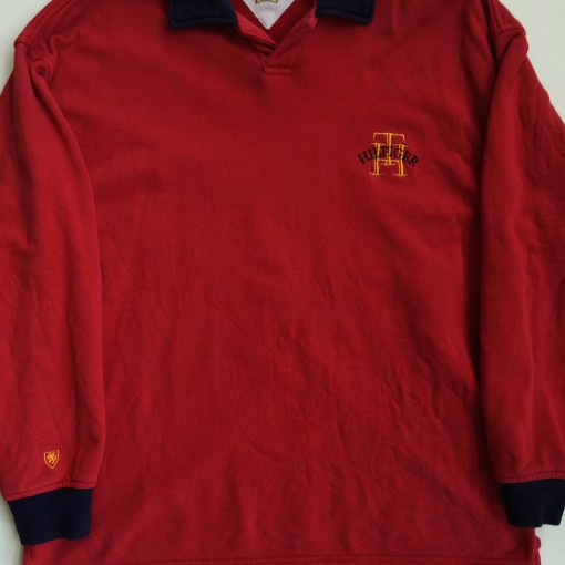 vintage tommy hilfiger red rugby shirt size medium