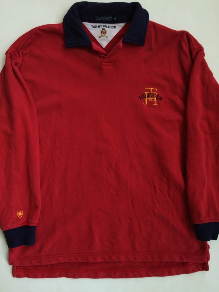 Vintage tommy hilfiger red fleece rugby shirt size medium for Tommy hilfiger shirt size