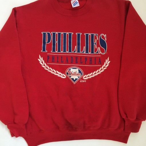 vintage 1992 philadelphia phillies mlb crewneck sweatshirt size large