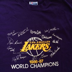 vintage 1987 los angeles lakers nba champions t shirt