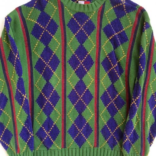 vintage tommy hilfiger green argyle knit sweater size large