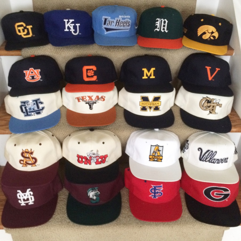 9e6ce87c8dcf6 lot of vintage ncaa college snapback hats