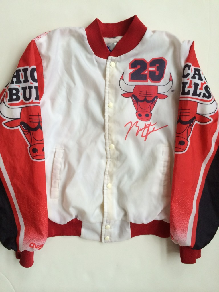 9f9db049a82e Vintage Michael Jordan Chicago Bulls Chalkline NBA Fanimation Jacket ...