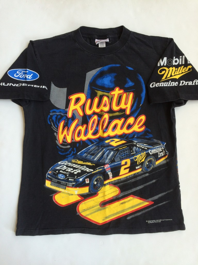 90�s rusty wallace miller light black nascar racing t