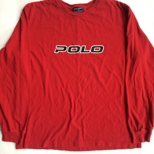 vintage 90's polo sport red long sleeved shirt