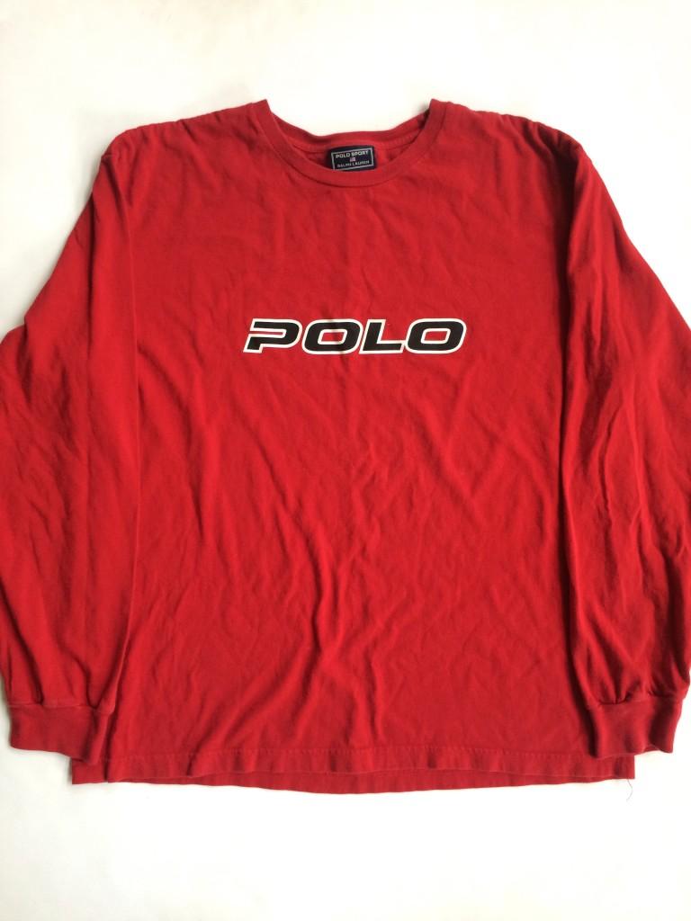 Vintage 90 s Ralph Lauren Polo Sport Red Long Sleeve Shirt Medium ... ae3fc71e64e07