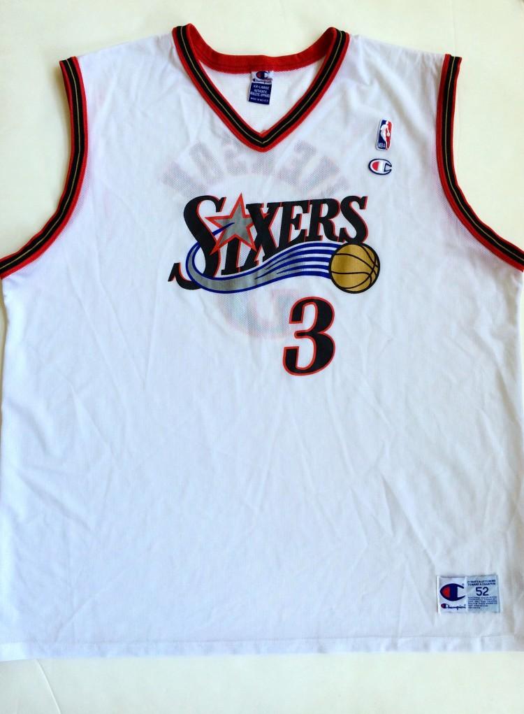 lowest price a2a38 2fd12 2002 Allen Iverson Philadelphia 76ers White Champion NBA Jersey Size 52