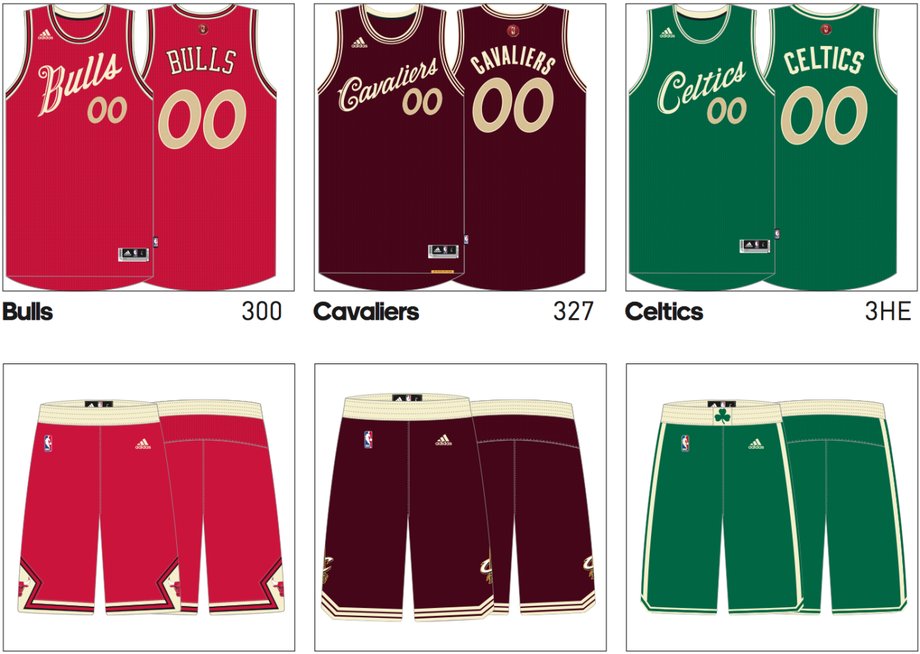 2015-16 NBA Christmas uniforms bulls cavaliers celtics
