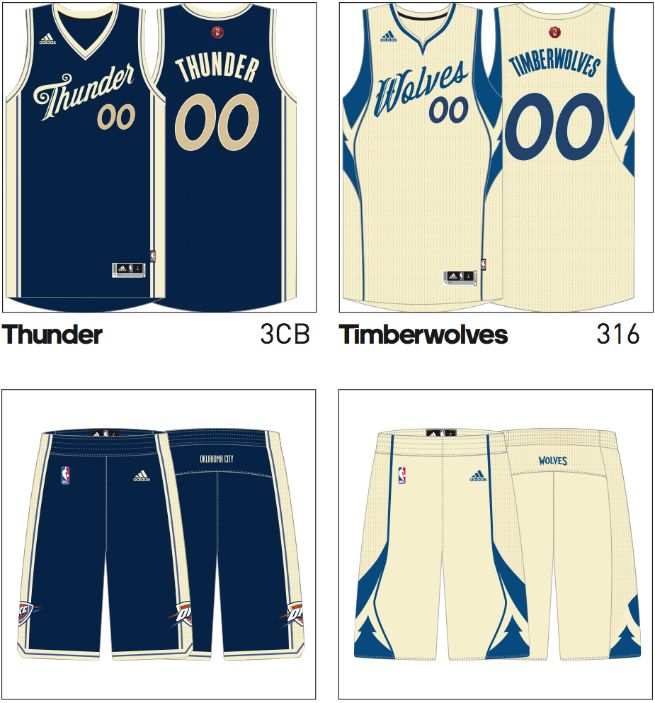 2016 nba christmas uniforms thunder timberwolves
