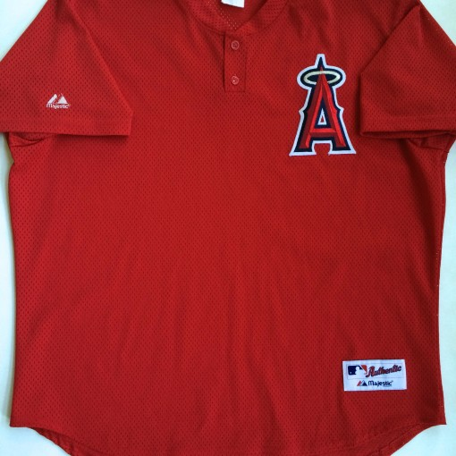 VINTAGE Anaheim Angels authentic majestic diamond collection red batting practice jersey size 52