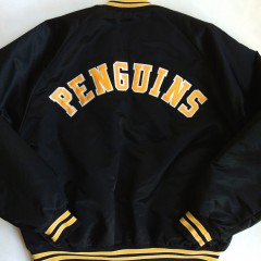vintage pittsburgh penguins chalkline satin jacket xl