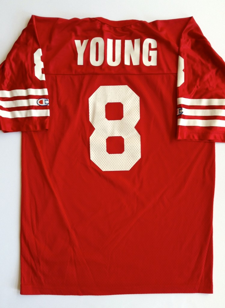 vintage steve young san Francisco 49ers champion jersey size 44 large.  vintage steve young 49ers jersey red large b508a81d2