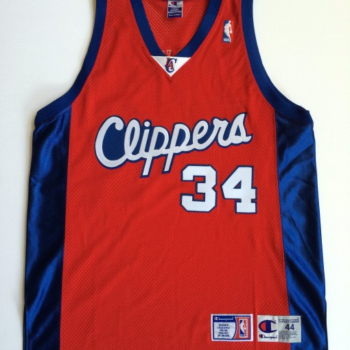 vintage michael olowokandi champion authentic jersey size 44. vintage  throwback los angeles clippers ... 259fd6af1