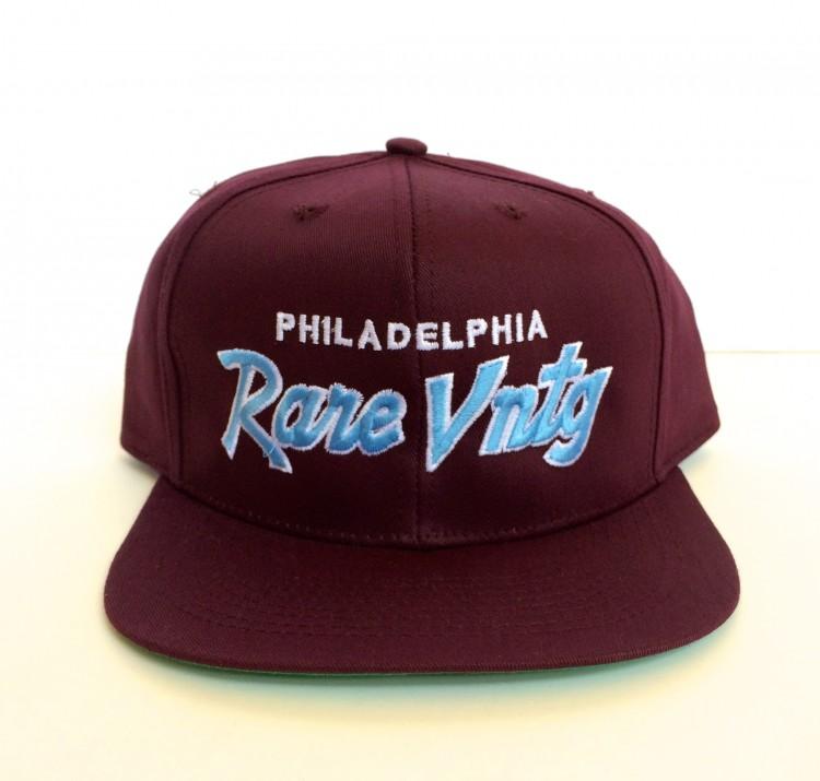 b35f6cd1bc047 Rare Vntg Philadelphia Maroon City Series Script Snapback Hat