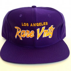 rare vntg los angeles purple yellow city series script snapback hat