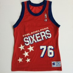 vintage 1993 shawn bradley philadelphia sixers 76ers jersey size small