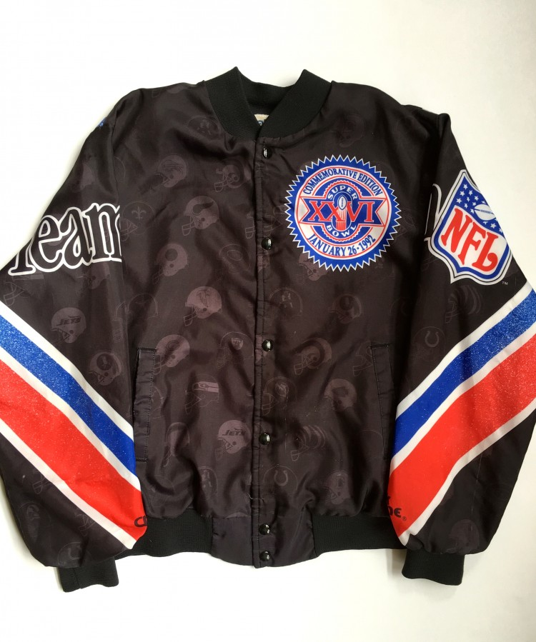 1992 Super Bowl XXVI Chalkline NFL Fanimation Jacket Size Large ... 4aa31915c