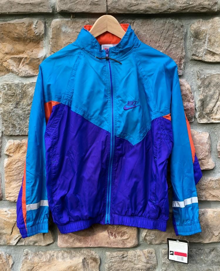 a4193125c0 Vintage 90 s Nike Blue Purple Orange Windbreaker Jacket Youth Size ...