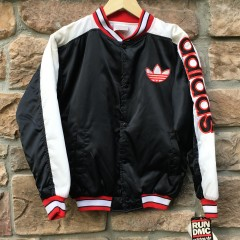 vintage adidas x run dmc satin bomber jacket youth large