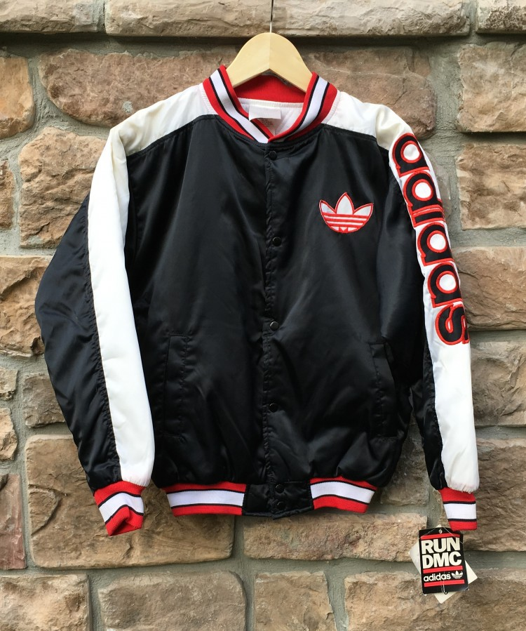 80 s run dmc x adidas satin jacket youth size large rare vntg. Black Bedroom Furniture Sets. Home Design Ideas