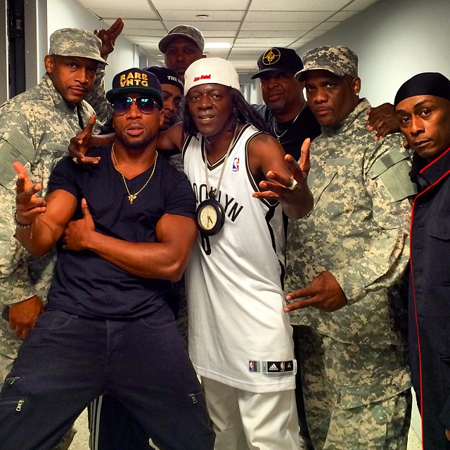 Frank Knuckles alongside Public Enemy before they hit the stage on the Tonight Show