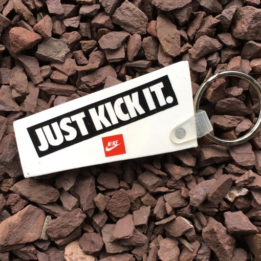 vintage nike just kick it keychain 80's soccer