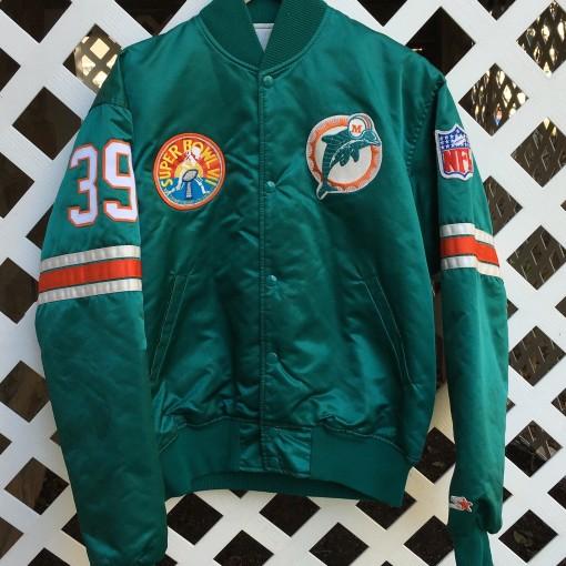 custom miami dolphins rare vntg starter satin jacket