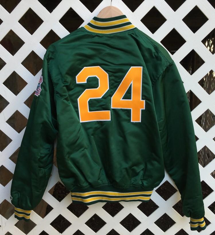 "online store 72ae3 d7c67 1989 Oakland Athletics ""Man of Steel"" World Series Custom Starter Satin  Jacket"