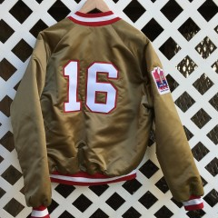 custom joe Montana San Francisco 49ers satin jacket by rare vntg