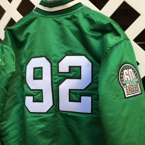 reggie white philadelphia eagles starter satin jacket