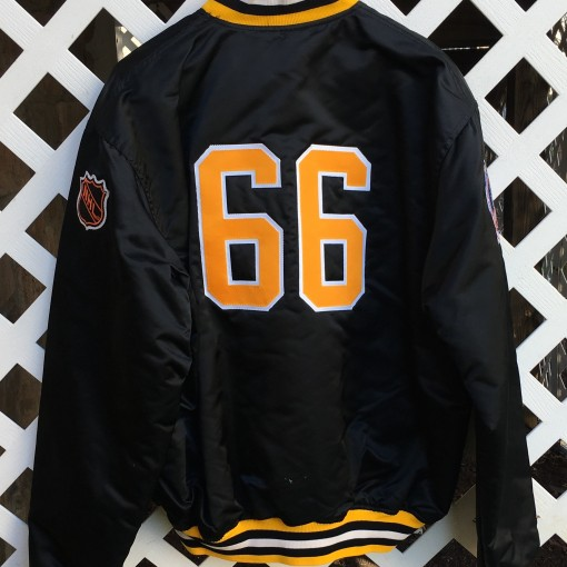 Pittsburgh Penguins Mario Lemieux custom vintage starter satin jacket